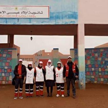 وادي زم:الهلال الأحمر يقوم بتداريب تطبيقية في الإنقاذ لفائدة تلاميذ ثانوية أولاد عيسى الإعدادية